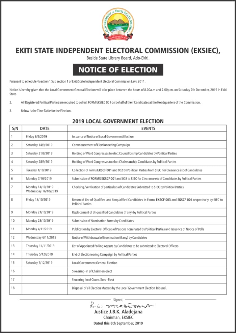 EKSIEC Releases Timetable for Local Government Elections
